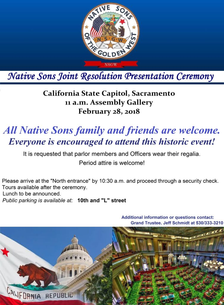 Native Sons Joint Resolution Ceremony @ California State Capitol | Sacramento | California | United States
